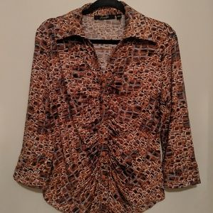 ~Very nice button up knit blouse Size Large~